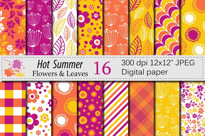 summer-digital-paper-orange-and-yellow-flowers-and-leaves-patterns