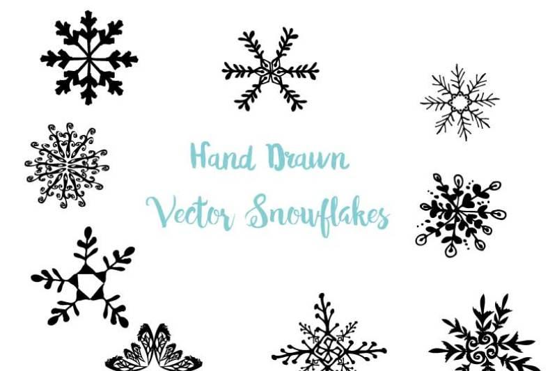 hand-drawn-snowflakes