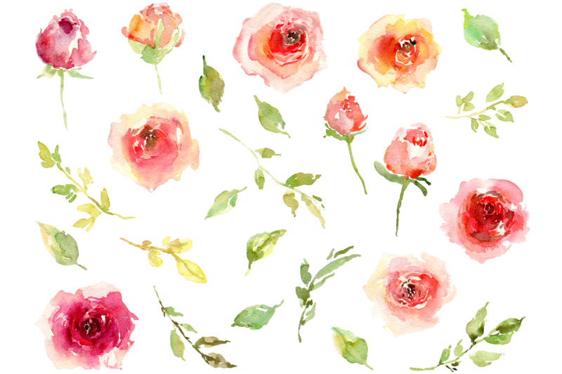 watercolor-rustic-roses-purple-pink-collection