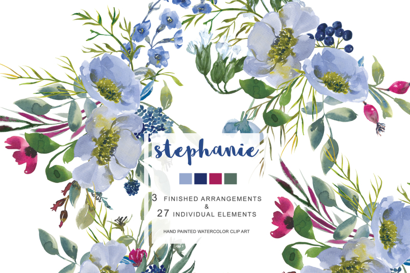 hand-painted-watercolor-wedding-flowers-clip-art-sapphire-blue-and-red