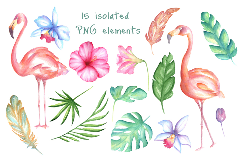 pink-flamingo-watercolor-set