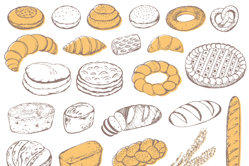 sketch-of-bread-and-pastries