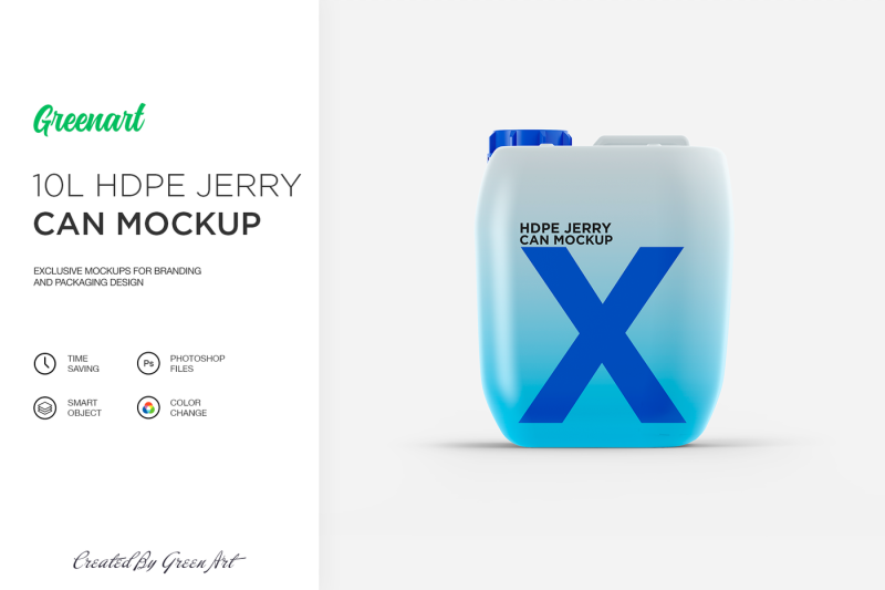 Free 10L HDPE Jerry Can Mockup (PSD Mockups)