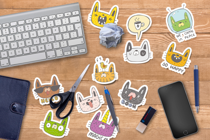 collection-of-doodle-cats