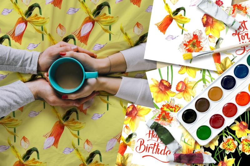 narcissus-lemon-png-watercolor-flower-set