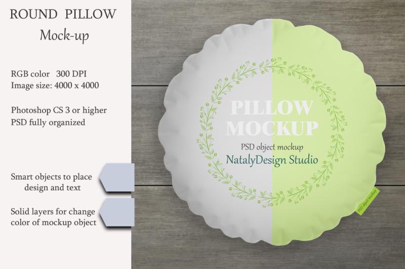 Free Round pillow mockup. Product mockup. (PSD Mockups)