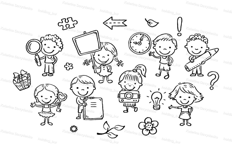 set-of-cartoon-kids-holding-different-objects