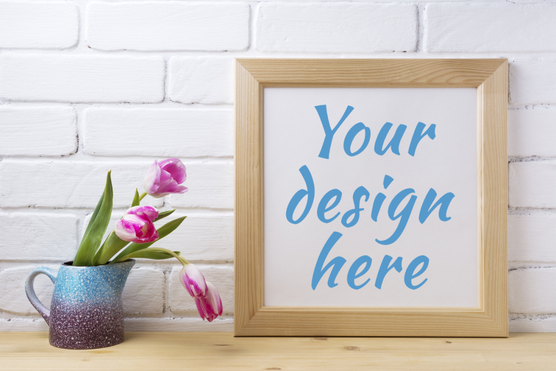 wooden-square-frame-mockup-with-pink-tulip-in-purple-blue-vase