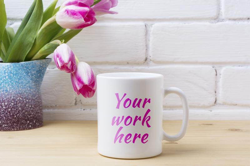 white-coffee-mug-mockup-with-pink-tulip-in-purple-blue-vase