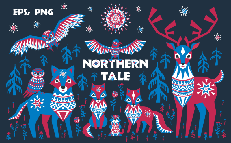 northern-tale-arctic-animals-in-tribal-style