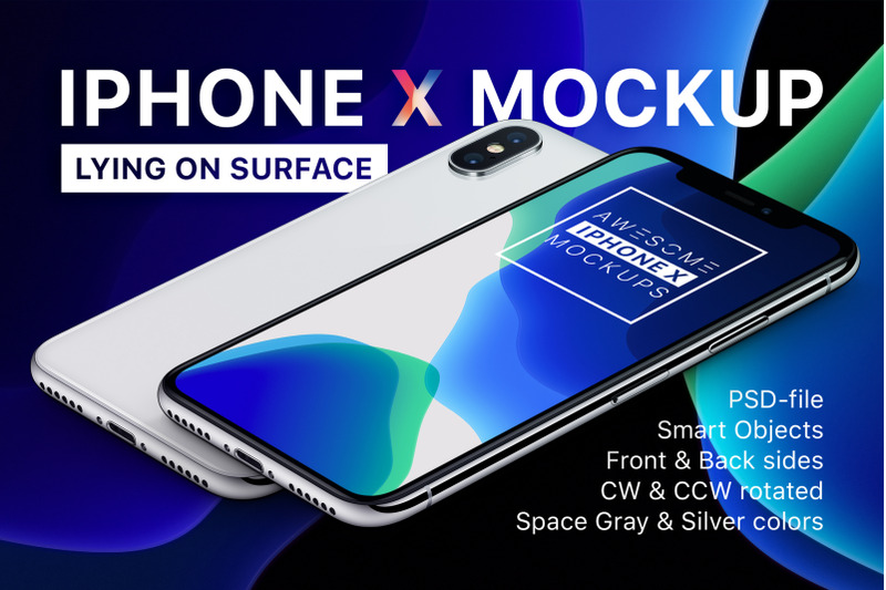 Free iPhone X Mockup - Lying On Surface (PSD Mockups)