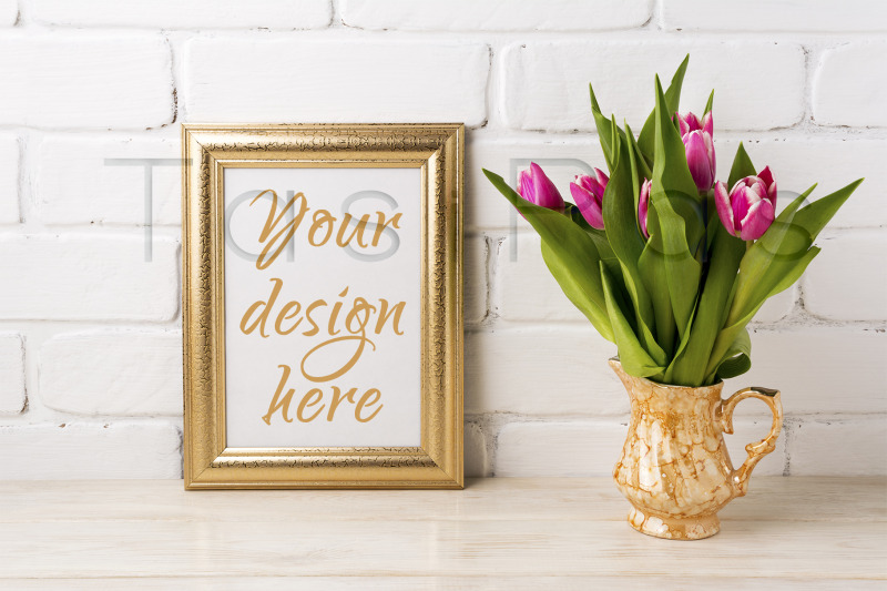 Free Golden frame mockup with magenta pink tulips in golden vase (PSD Mockups)