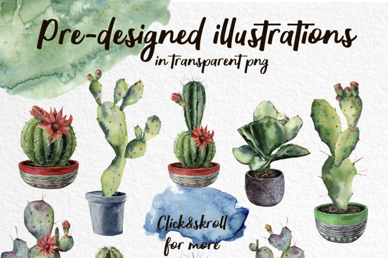 only-cactus-watercolor-clip-art