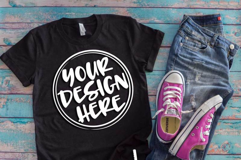 Free Black t-shirt flat lay mock up 6514 (PSD Mockups)