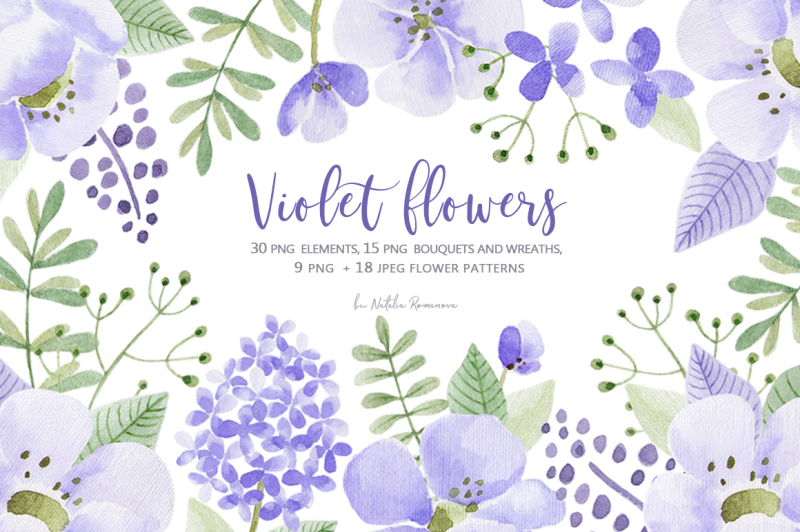 violet-flowers-watercolor-collection