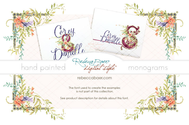 Watercolor Floral Monograms By Rebecca Baer Thehungryjpeg Com