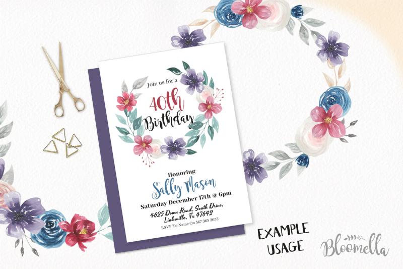 jewel-watercolor-flower-wreath-navy-burgundy-rich-garlands