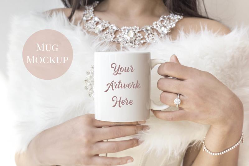 Free Woman holding mug - bride (PSD Mockups)