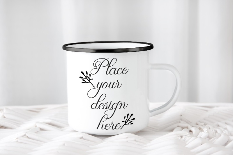 Free Camping mug enamel metal cup mock up camp mockup black rim ring psd (PSD Mockups)