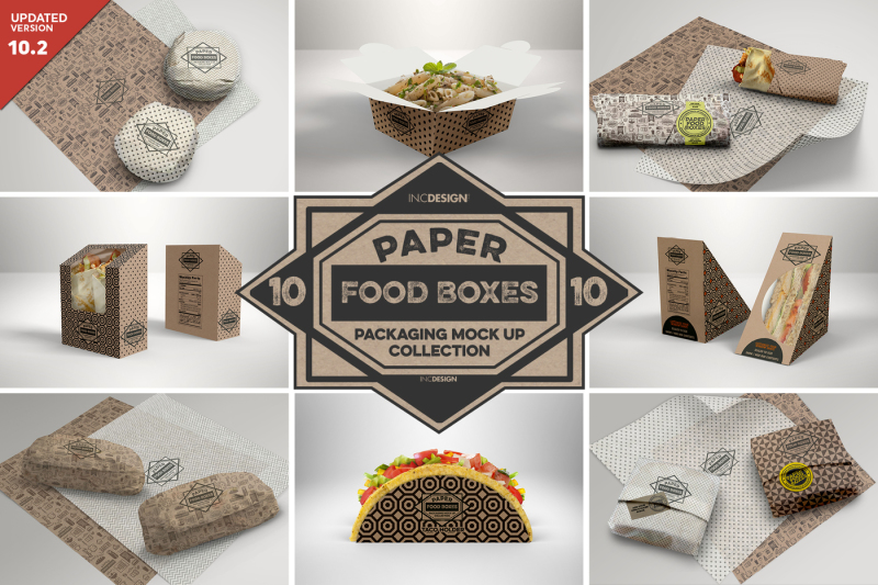 Free VOL 10: Paper Food Box Packaging Mockup Collection (PSD Mockups)