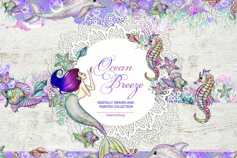 ocean-mermaids-clipart-collection-instant-download-printable-mermaid