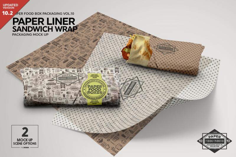 Free Wrap Sandwich Burrito Paper Liner Mockup (PSD Mockups)