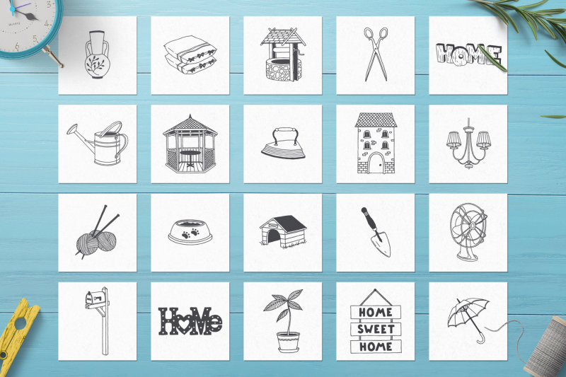 100-hand-drawn-elements-home