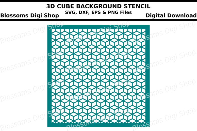 3d-cube-background-stencil-svg-dxf-eps-and-png-files