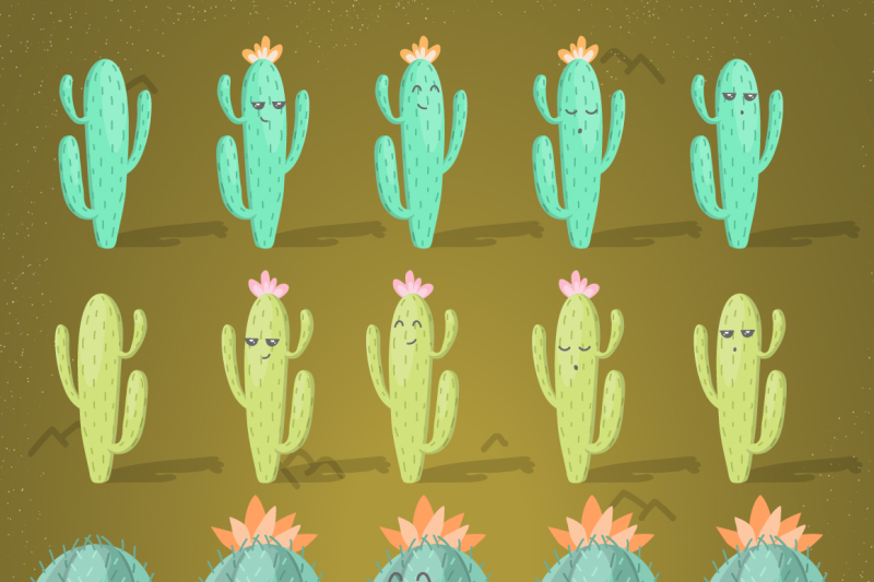 brave-lamas-and-cactuses-vector-set