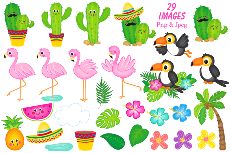 flamingo-clipart-cactus-clipart-tropical-graphics-amp-illustrations