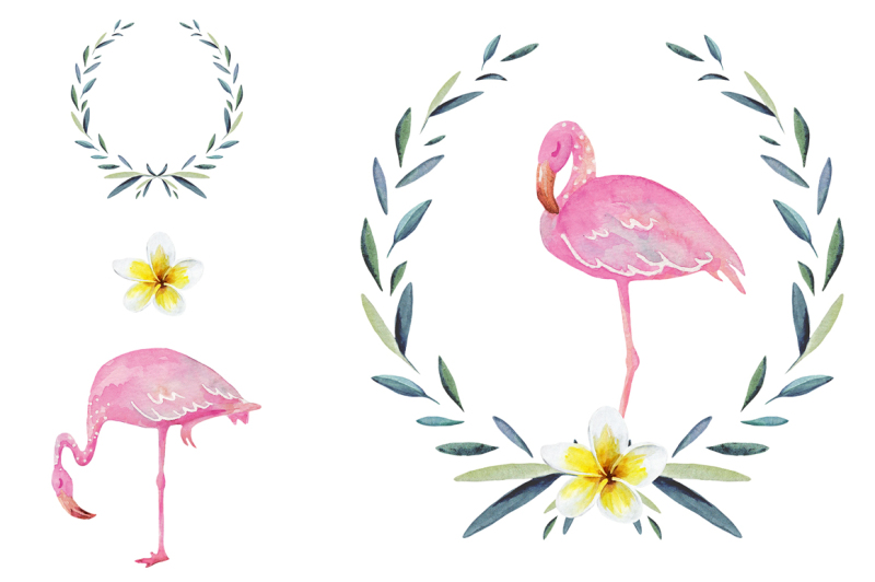 watercolor-tropical-set-with-flamingo