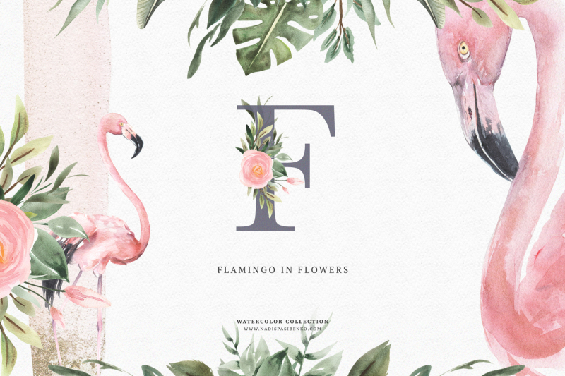 watercolor-flamingo-and-flowers