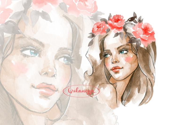 girl-red-wreath-watercolor