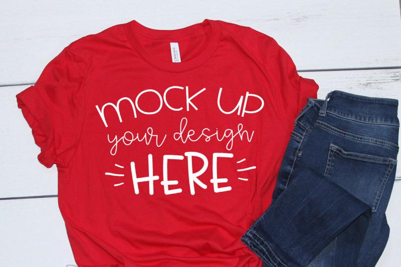 mock-up-bella-canvas-3001-red-unisex-mockup