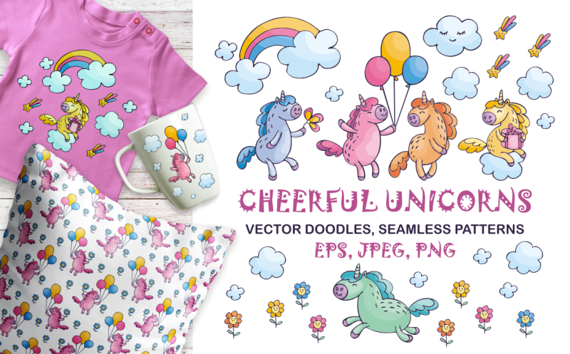 cheerful-unicorns-vector-doodles-and-seamless-patterns
