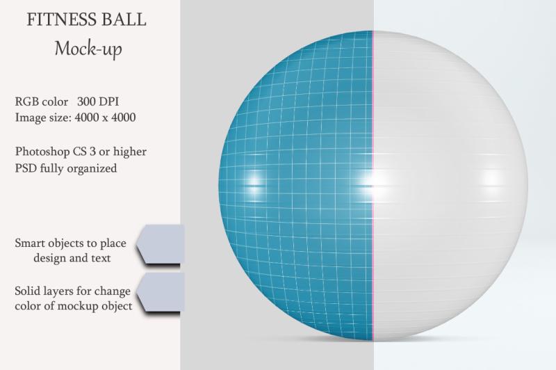 Free Fitness ball mockup. Exercise Ball Mockup. (PSD Mockups)
