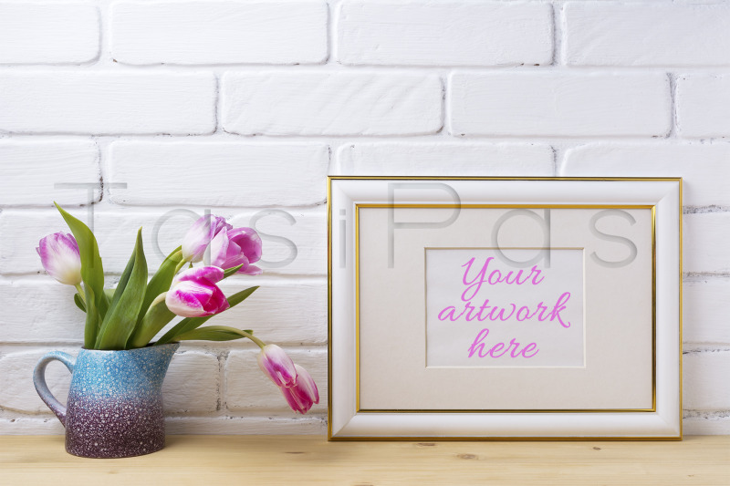 gold-decorated-landscape-frame-mockup-with-magenta-tulips