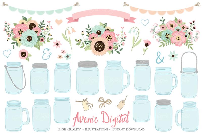 pink-and-mint-mason-jar-wedding-clipart