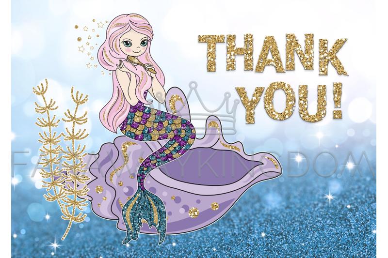 beautiful-mermaid-glitter-vector-illustration-set-for-print