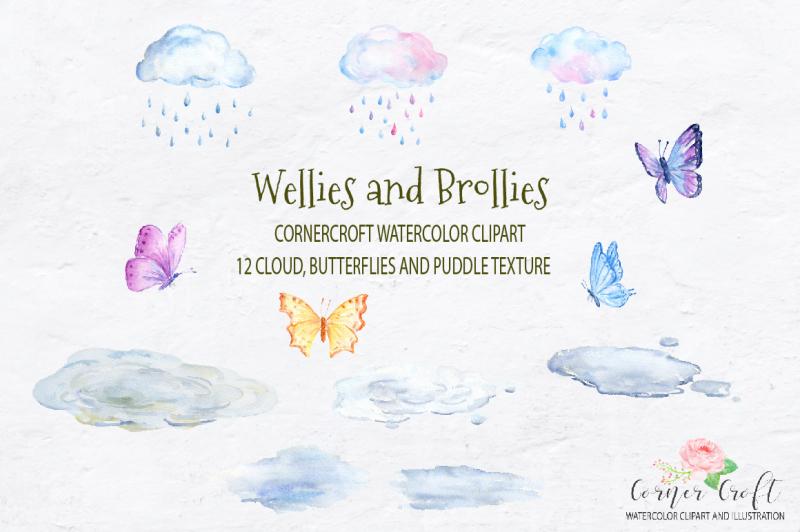 watercolor-wellies-and-brollies-rain-boots-umbrella