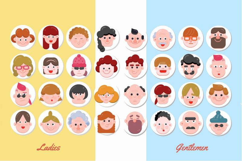 32-character-faces-flat-designs