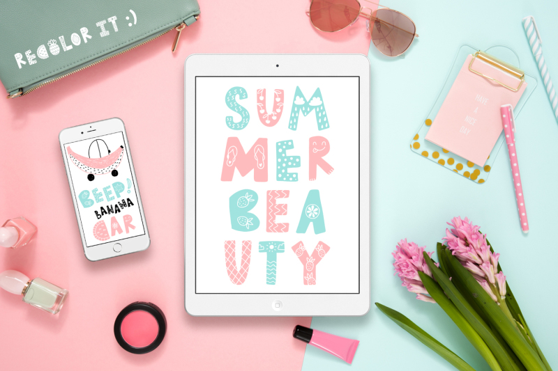 summer-day-typeface-with-clipart