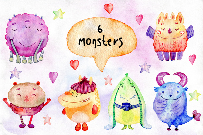 watercolor-funny-monsters