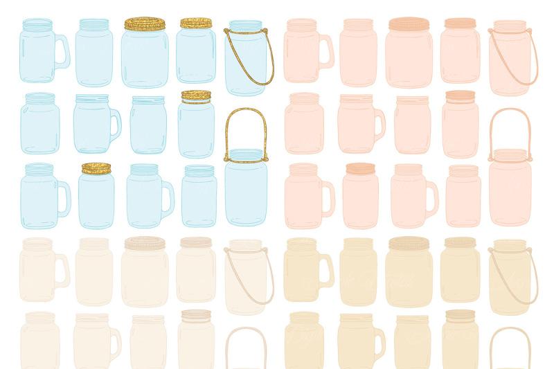ivory-and-gold-mason-jar-wedding-clipart