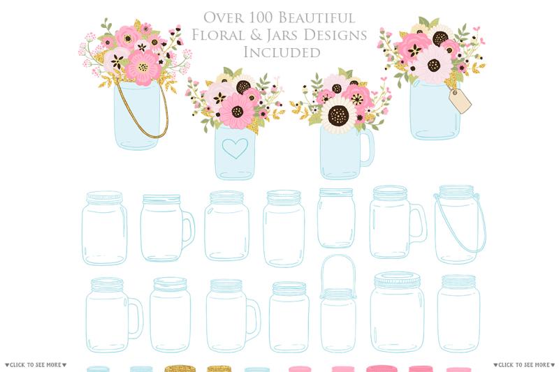 pink-and-gold-mason-jar-floral-wedding-clipart