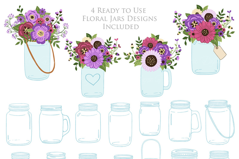 purple-mason-jar-floral-wedding-clipart