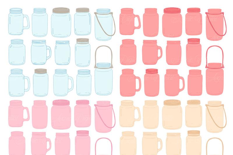 light-pink-pink-and-cream-mason-jar-wedding-clipart