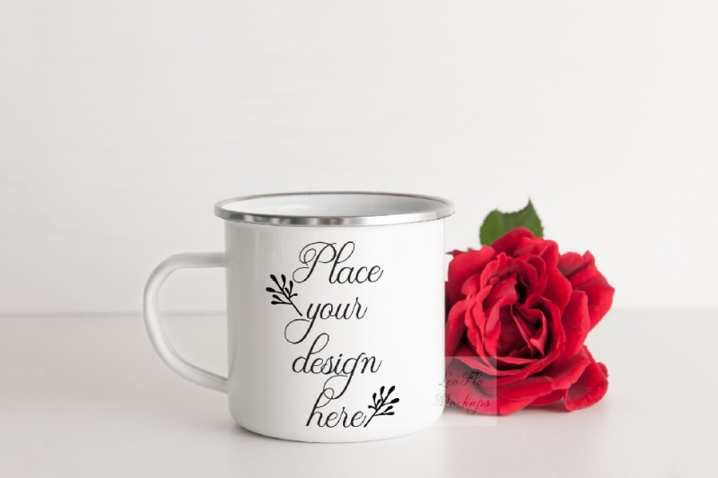 Free Camping mug enamel metal cup mock up camp mockup silver rim ring psd (PSD Mockups)