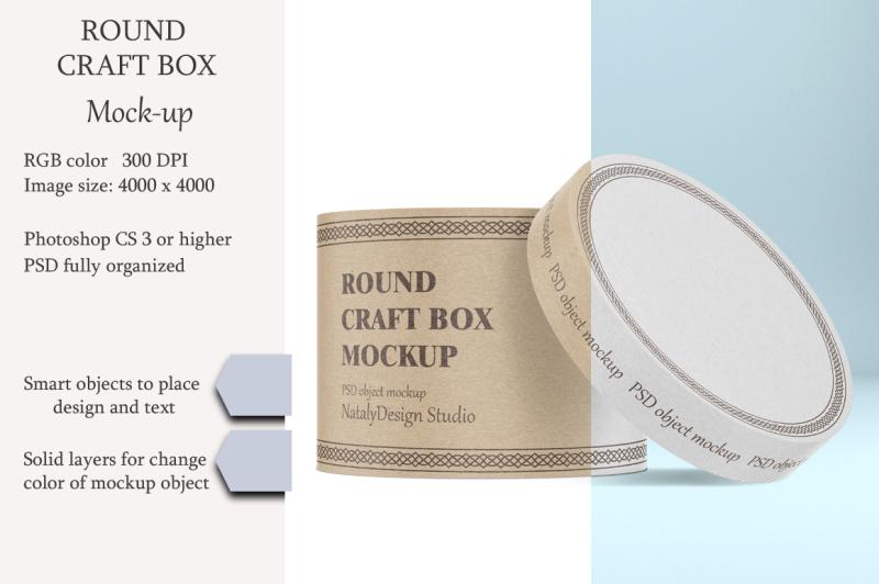 Free Round craft box mockup. Carton box. (PSD Mockups)