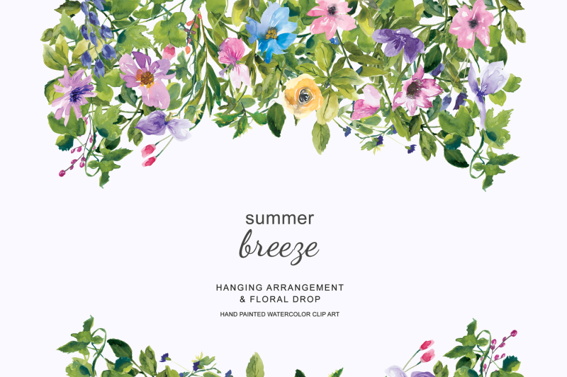 watercolor-summer-floral-wreath-and-drop-clipart